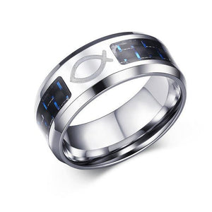8 mm Personalize Carbon Fiber Ring For Man | Tree Of Life Pattern |Stainless Steel - soqexpress