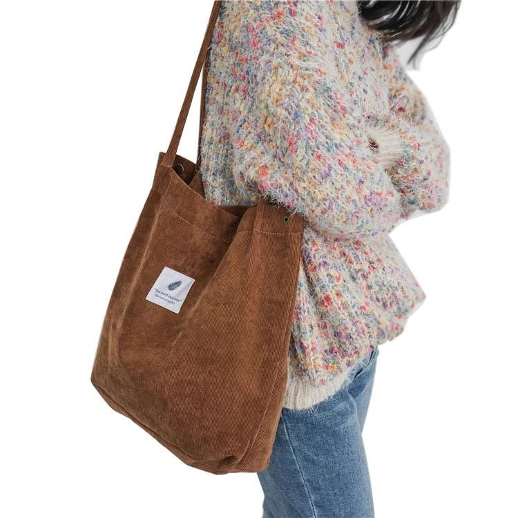 Women Corduroy Tote Ladies Casual Solid Color Shoulder Bag