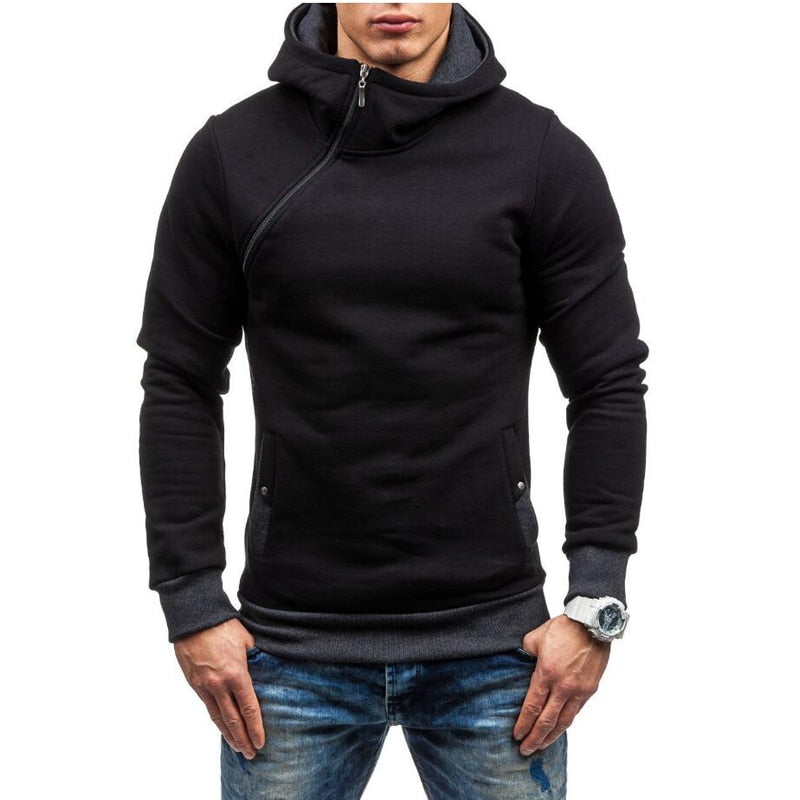Fashion Hoodies Men Brand Solid hooded zipper