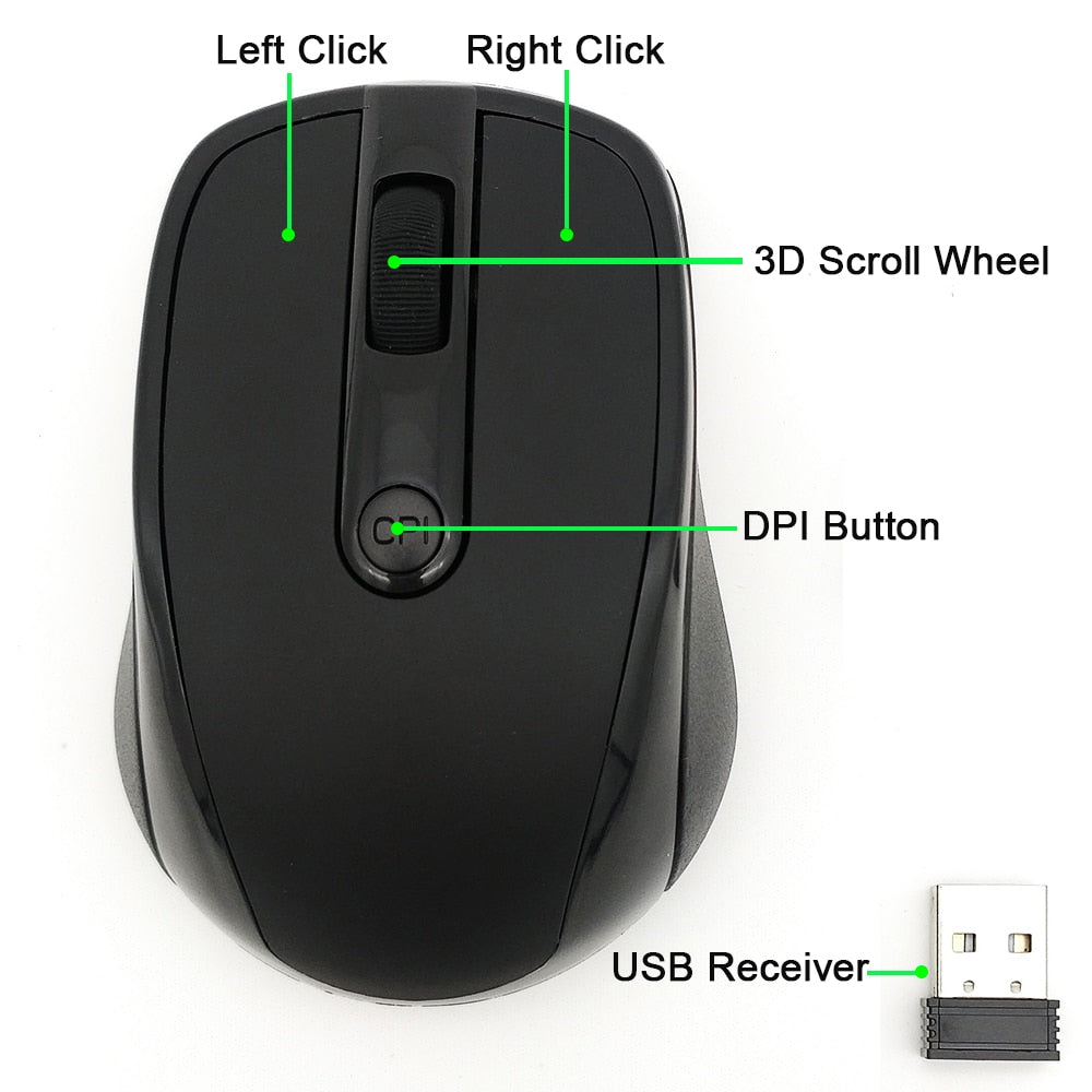 USB Wireless mouse 2000DPI Adjustable Receiver Optical Computer Mouse 2.4GHz