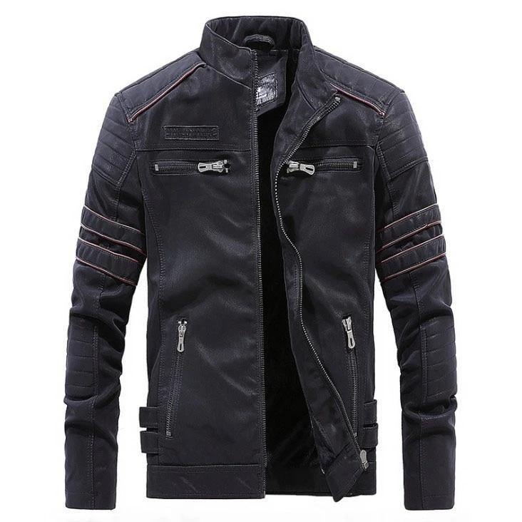 Winter Jacket Men Stand Collar Motorcycle Leather Jacket