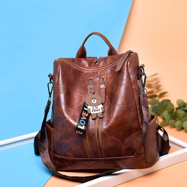 Youth Leather Backpack for women