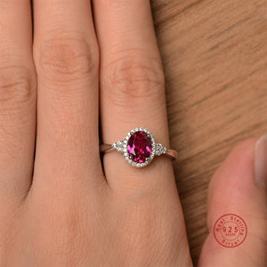 Lab ruby ring oval cut promise wedding ring solid sterling silver ring red gemstone July birthstone ring