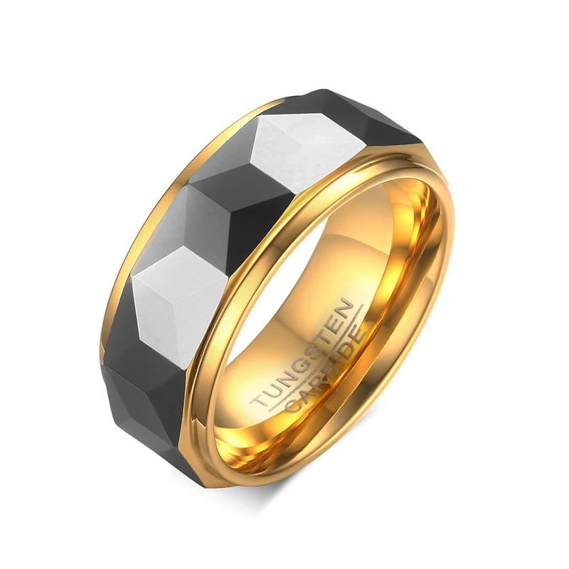 Tungsten 8mm Ring Wide Faceted Cut Geometric Shape