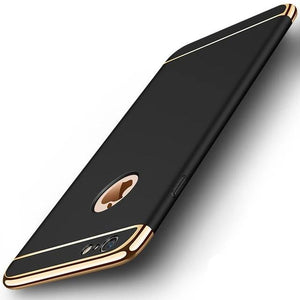 Luxury Gold Hard Case for iPhones Removable 3 in 1 Fundas Case