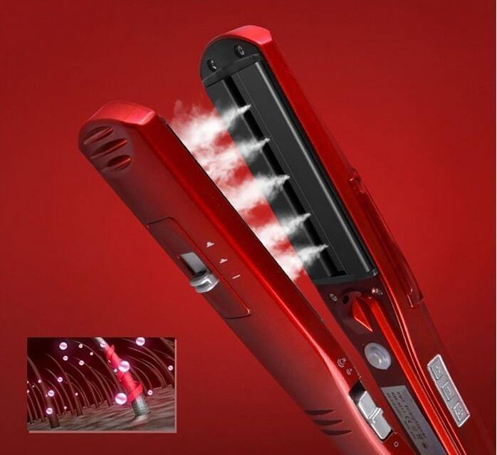 Ceramic Steam Hair Straightener Professional Flat Iron Vapor Spray - soqexpress