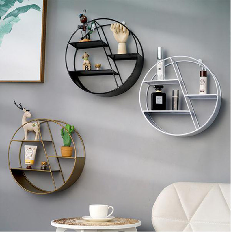 Nordic Style Metal Decorative Shelf round Hexagon storage holder rack Shelves