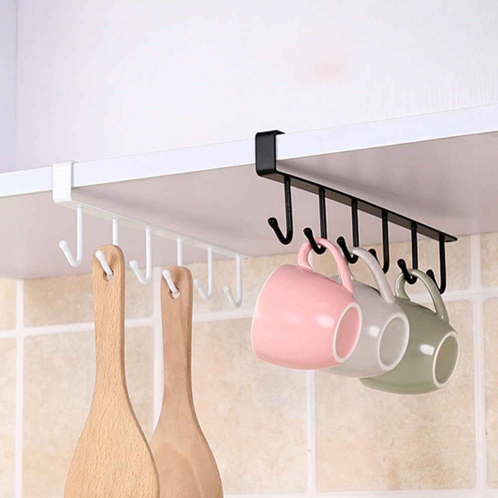 Kitchen Cupboard Storage Rack Cupboard Shelf Hanging Hook Organizer