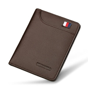 Genuine Leather Ultra thin Slim Short Wallet Men
