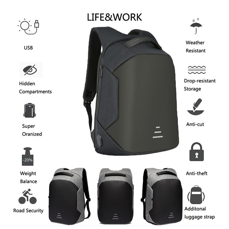 "Waterproof bag USB Charging Backpack Headphone plug Anti-theft 15.6"" Laptop Backpack"