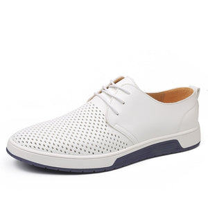 Men Casual Shoes Leather Summer Breathable Holes