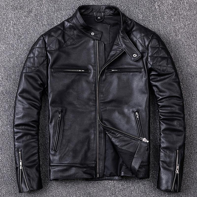 100% Natural Calfskin Leather Jacket For Men Motorcycle Jackets Moto Biker Clothing