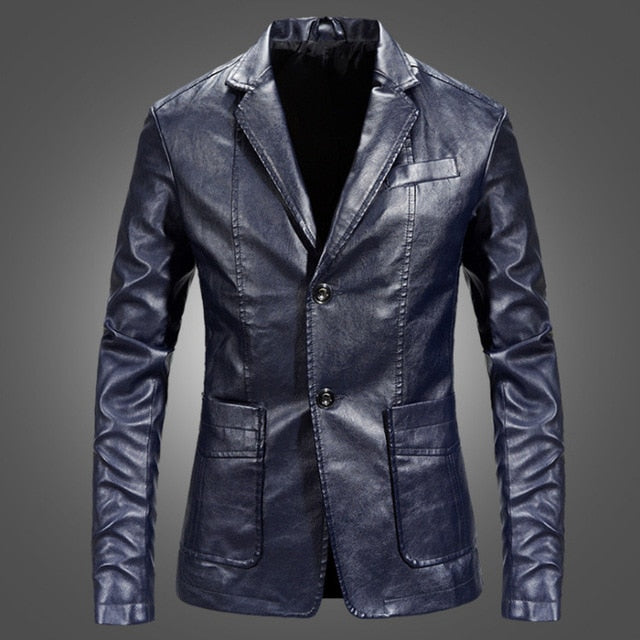 Men Blazer and Jackets Slim Fit Leather Jacket Fashion Black Party