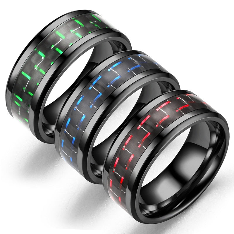 Unisex Style Black Tungsten Carbide Titanium Steel Ring