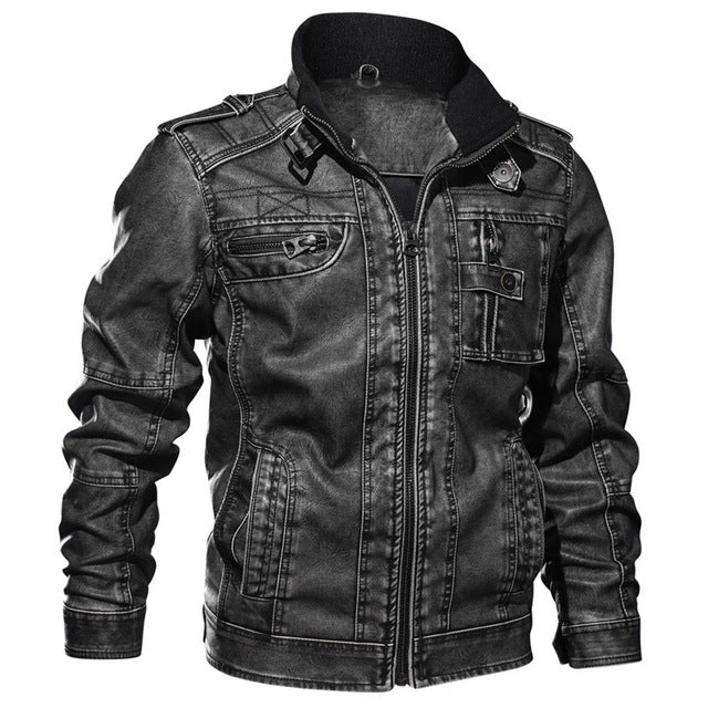 Winter Thick Warm Tactical Pilot Multi-Pocket Leather Jacket
