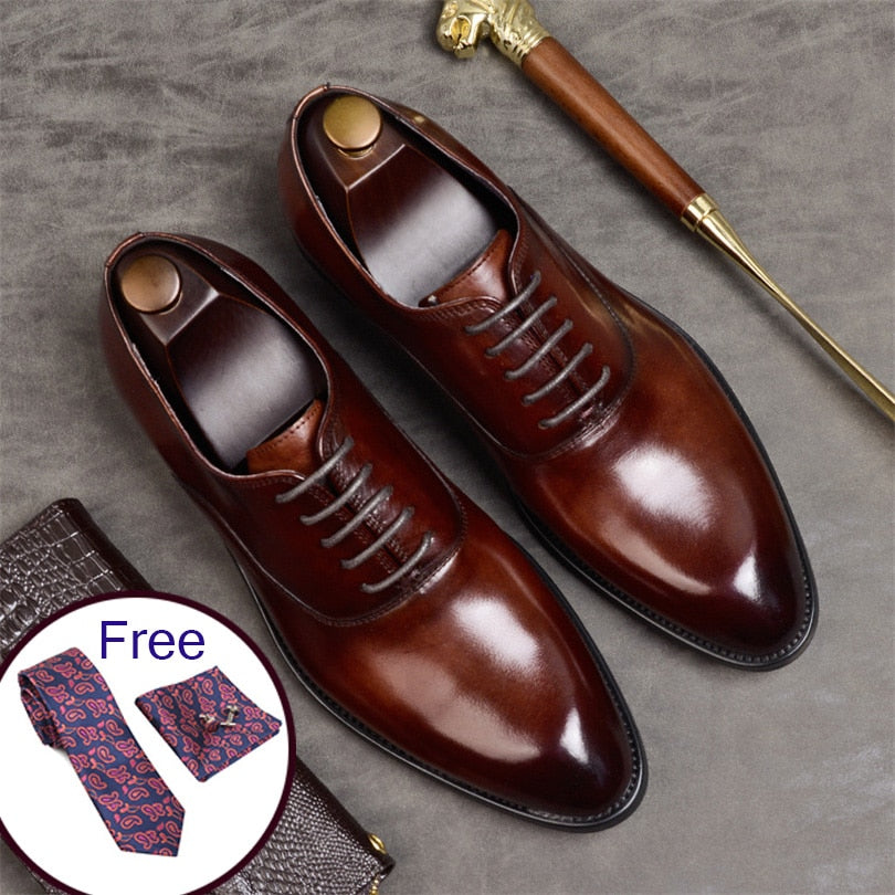 Italian Style High Quality Men formal shoes genuine leather oxford shoes  2019