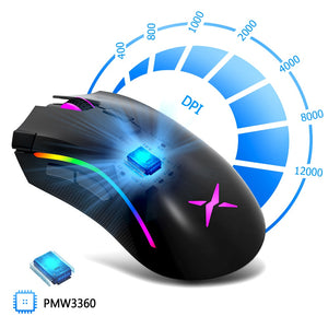 Deluxe  Sensor Gaming Mouse 12000DPI 12000FPS 7 Buttons RGB Backlight