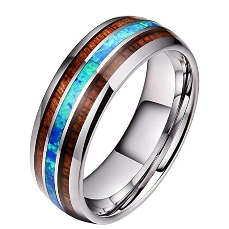 8mm Wood Inlay Titanium Steel Rings For Men - soqexpress
