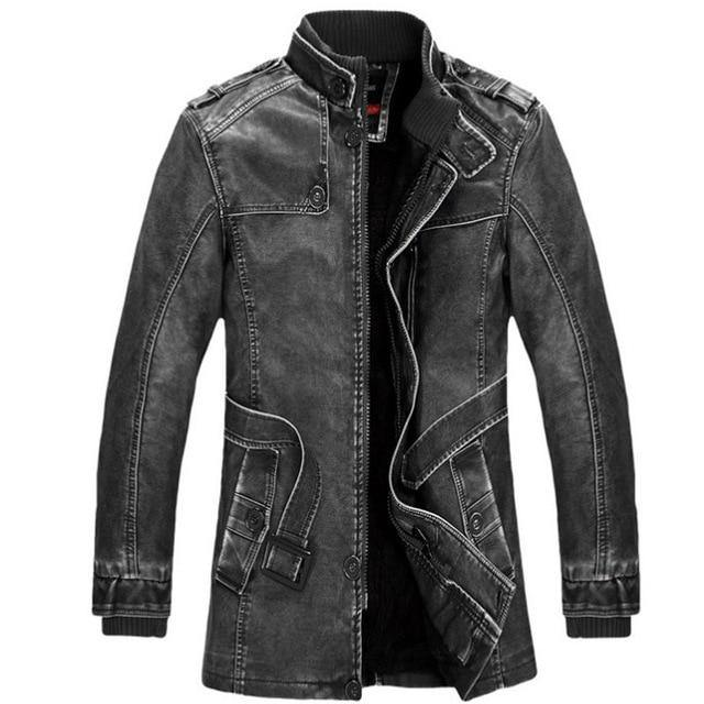 Brand Quality Fleece Lined Motorcycle Faux Leather Coat Male Leather Jackets - soqexpress