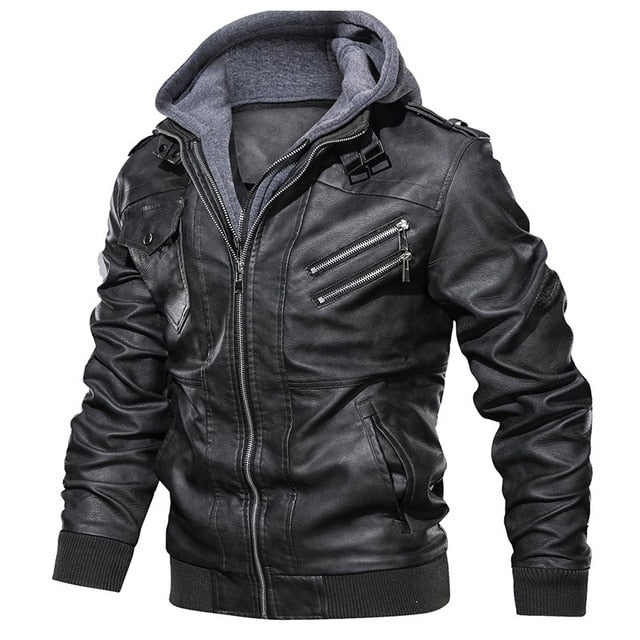 Zipper Motorcycle Leather Jacket Men Brand Military Autumn Men