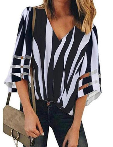 V-Neck Mesh Stitching Trumpet Sleeve Striped Blouse Tops T-Shirt