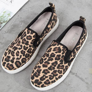 Leopard Printed Round Toe Sneakers - Leopard