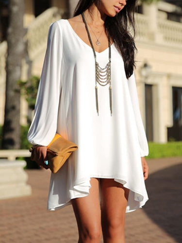 V-Neck Asymmetric Hem Shift Dress