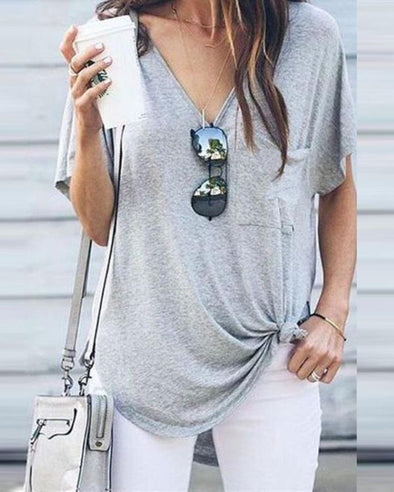 V-Neck Short-Sleeved Pocket Irregular T-Shirt Top
