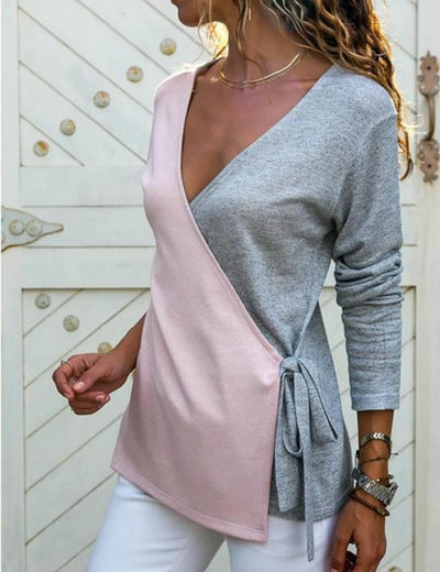 V-Neck Hit Color Patchwork Long Sleeve Casual Shirts Blouse