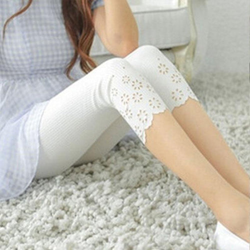Summer Women Short Leggings Cotton Knitted Hollow Out Iron Flower Solid Pants