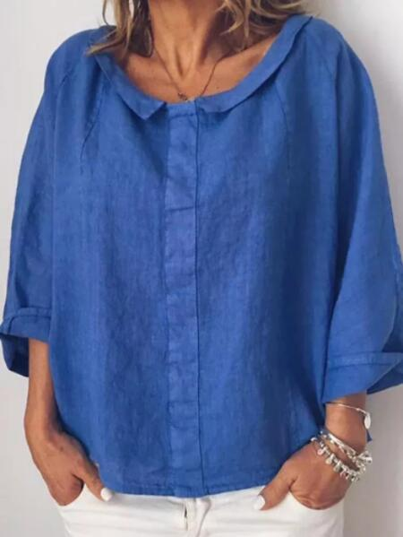 Women Solid Color Cotton Lapel 3/4 Sleeve Blouse