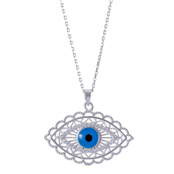 Filigree Evil Eye Pendant Necklace