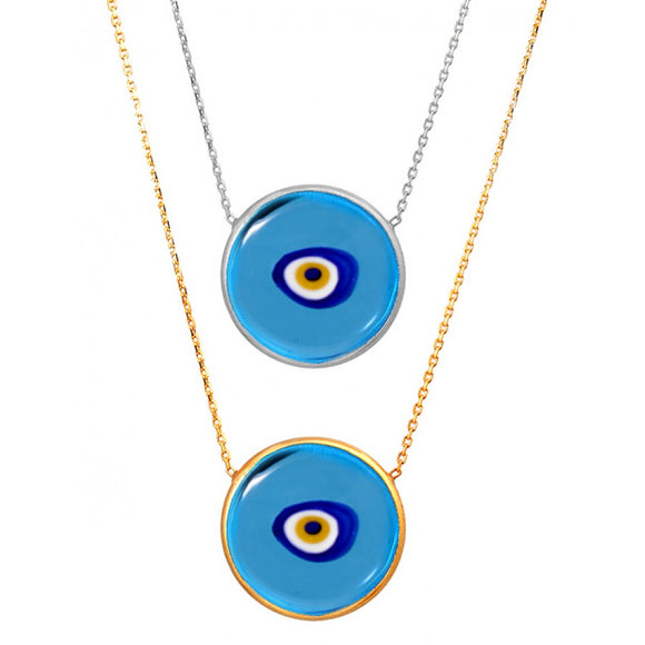 Transparent Blue Evil Eye Murano Necklace