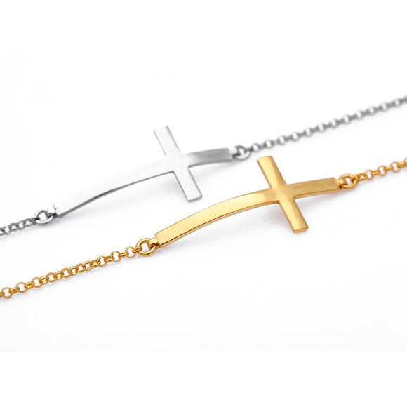 Celebrity Sideways Cross Bracelet