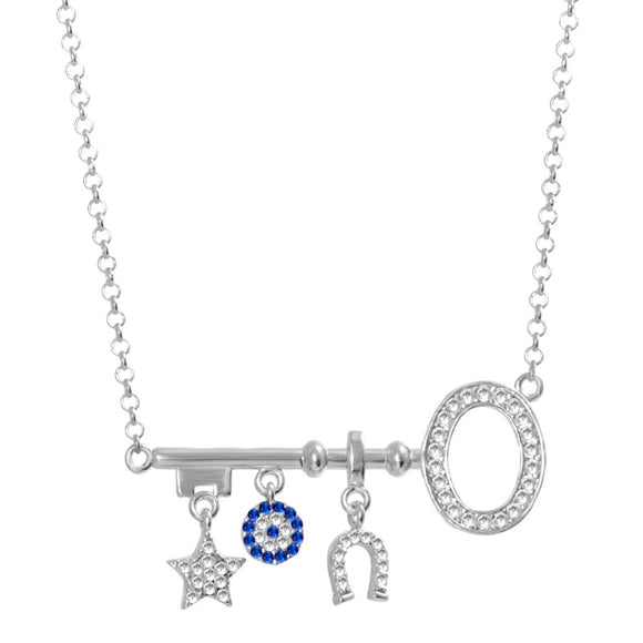 Evil Eye Key Necklace with Lucky Charms