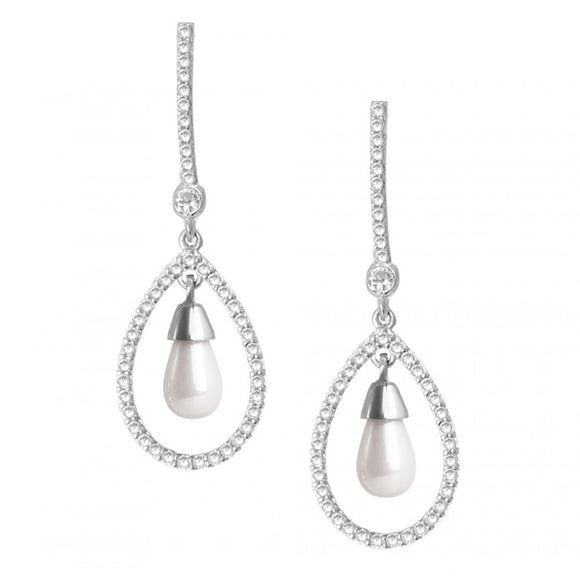 Celebrity Inspired Pearl CZ Earrings