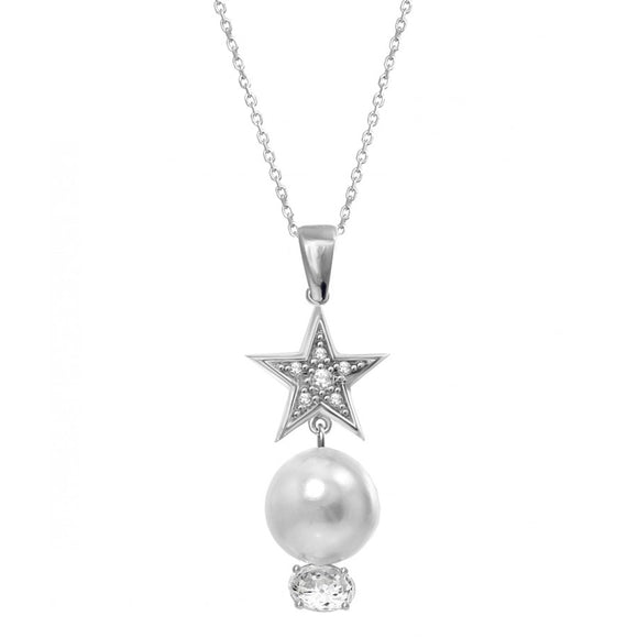 Silver Pearl and Star Wedding Necklace