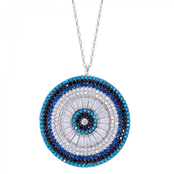 Large Evil Eye Medallion Necklace