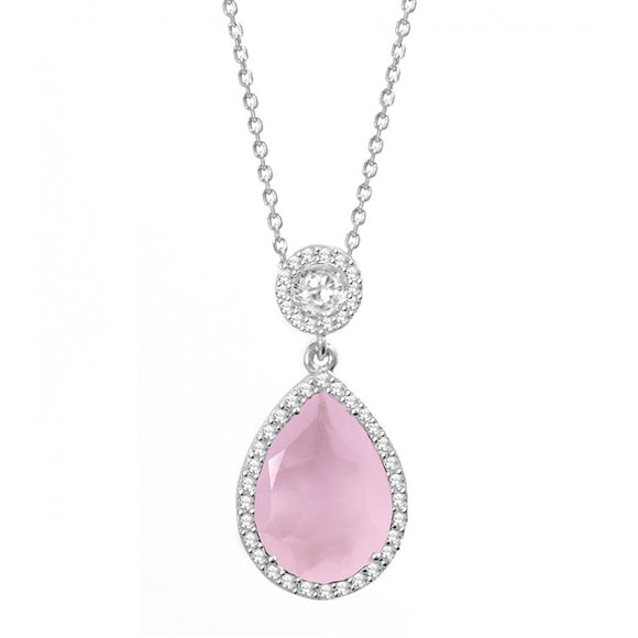 Rose Quartz Silver CZ Necklace