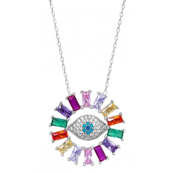 Multicolor Birthstones Evil Eye Necklace