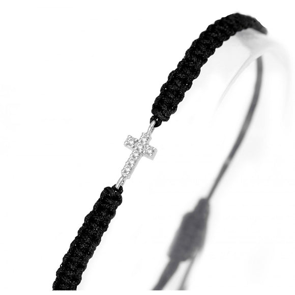 Black String Bracelet with Cross
