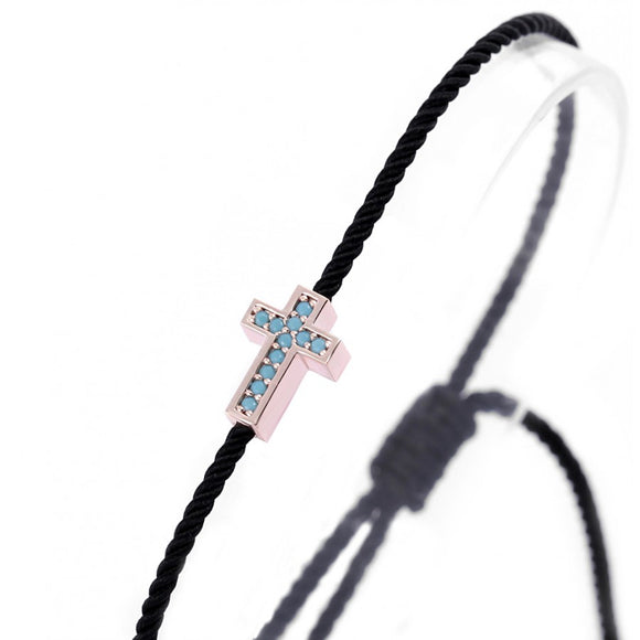Cross Bracelet with Nano Turquoise Stones
