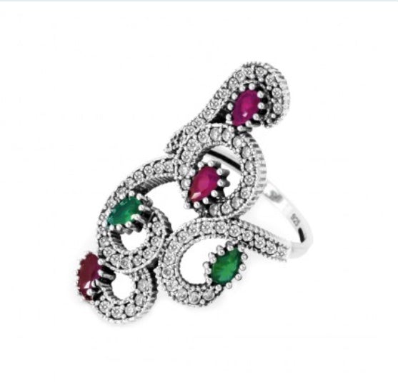 Designer Ruby And Emerald Ring