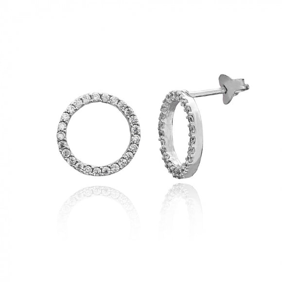 Hollow Round Stud Silver Earring