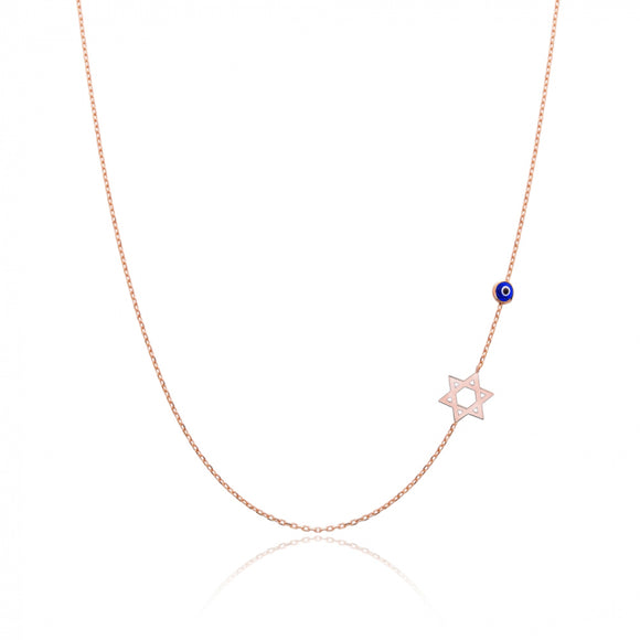 David Star With Evil Eye Sideway Initial Necklace Turkish