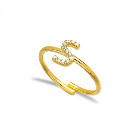 S Letter Design Adjustable Ring