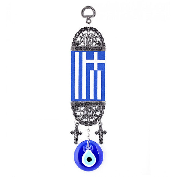Greek Flag Wall hanging with Greek Mati