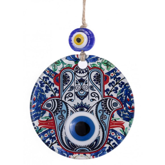 Hamsa Glass Wall Decor - 10.00 cm / 3.94 in