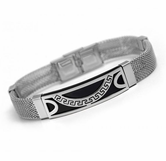 Stainless Steel Greek Key Mesh Bracelet