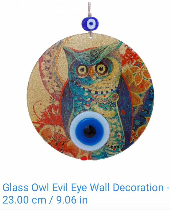 Glass Owl Evil Eye Wall Decoration 23cms